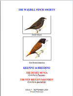 front cover featuring image of a dusky munia and a New Britain mannikin.
