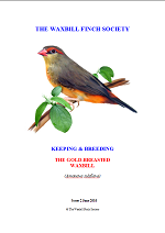 front cover featuring image of a gold-breasted waxbill.